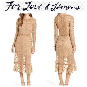 NWT For Love & Lemons Golden Garden Tulle Dress
